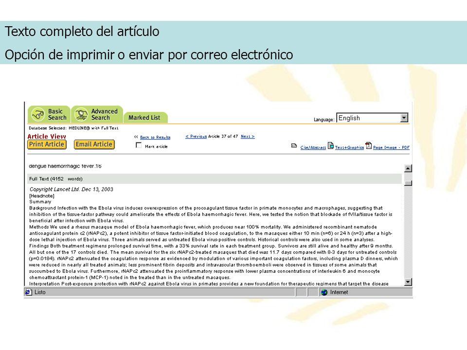 Texto completo del artículo Opción de imprimir o enviar por correo electrónico