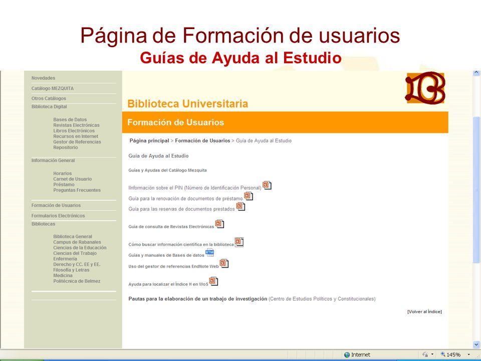Página de Formación de usuarios Guías de Ayuda al Estudio