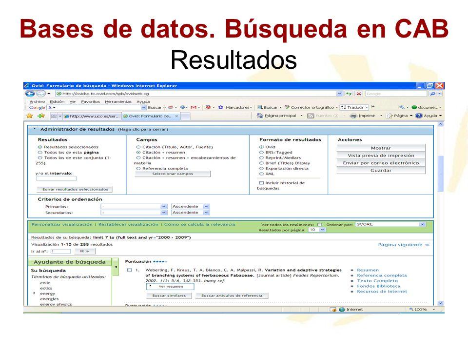 Bases de datos. Búsqueda en CAB Resultados