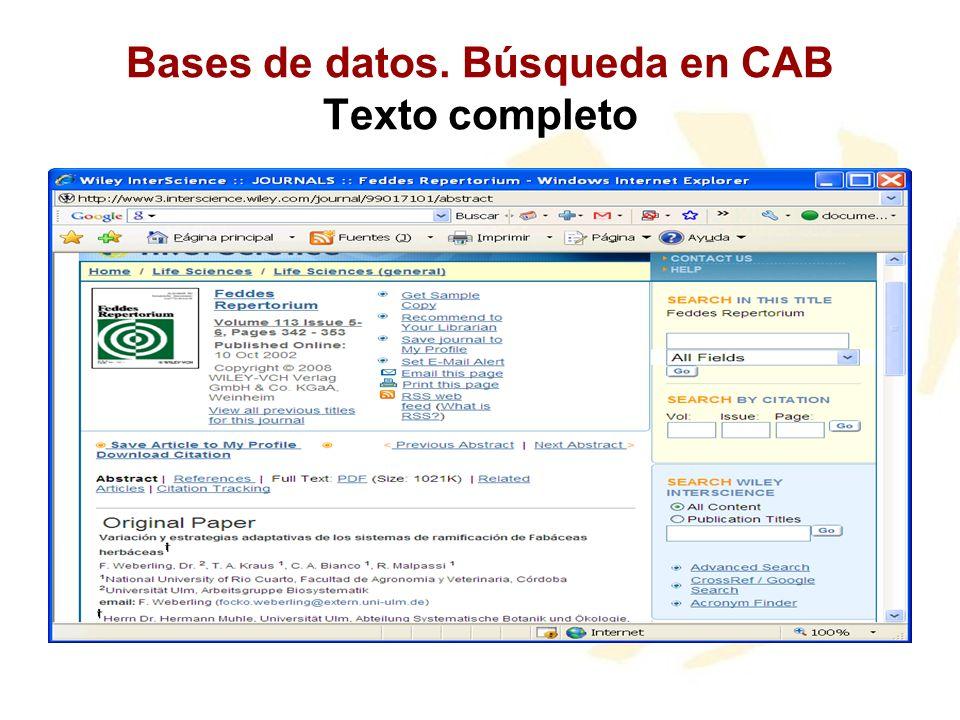 Bases de datos. Búsqueda en CAB Texto completo
