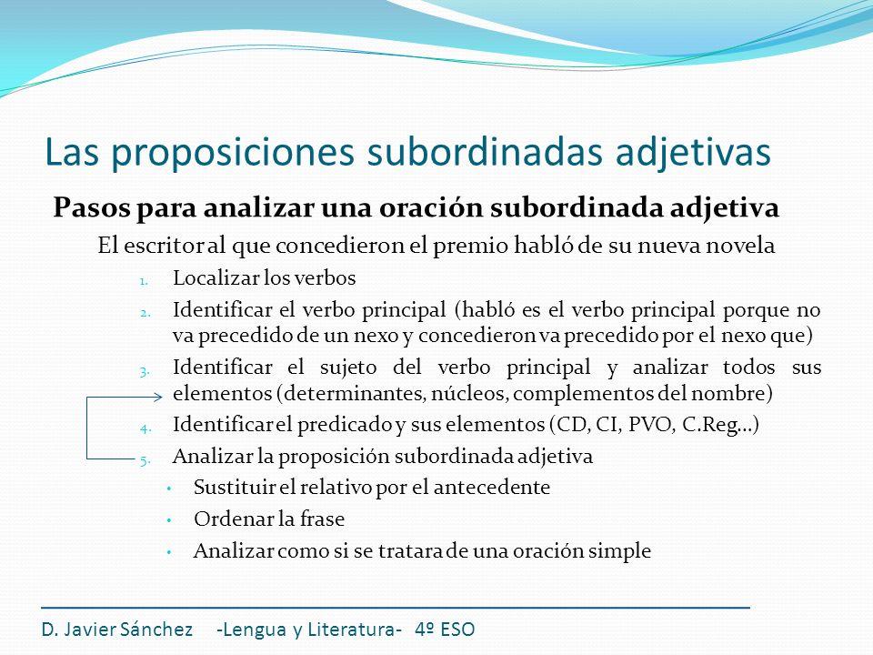 Las proposiciones subordinadas adjetivas Pasos para analizar una oración subordinada adjetiva El escritor al que concedieron el premio habló de su nue