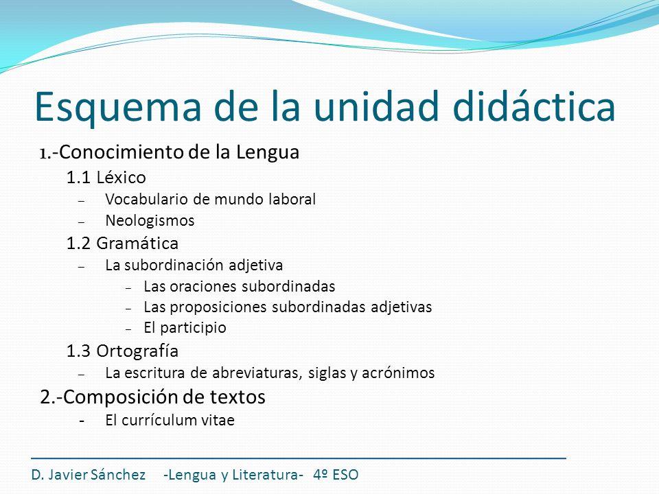 Esquema de la unidad didáctica 1.-Conocimiento de la Lengua 1.1 Léxico – Vocabulario de mundo laboral – Neologismos 1.2 Gramática – La subordinación a