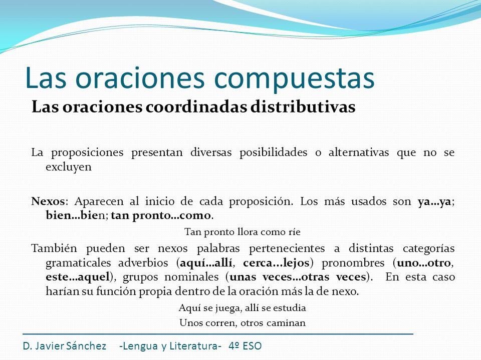 Las oraciones compuestas D. Javier Sánchez -Lengua y Literatura- 4º ESO Las oraciones coordinadas distributivas La proposiciones presentan diversas po