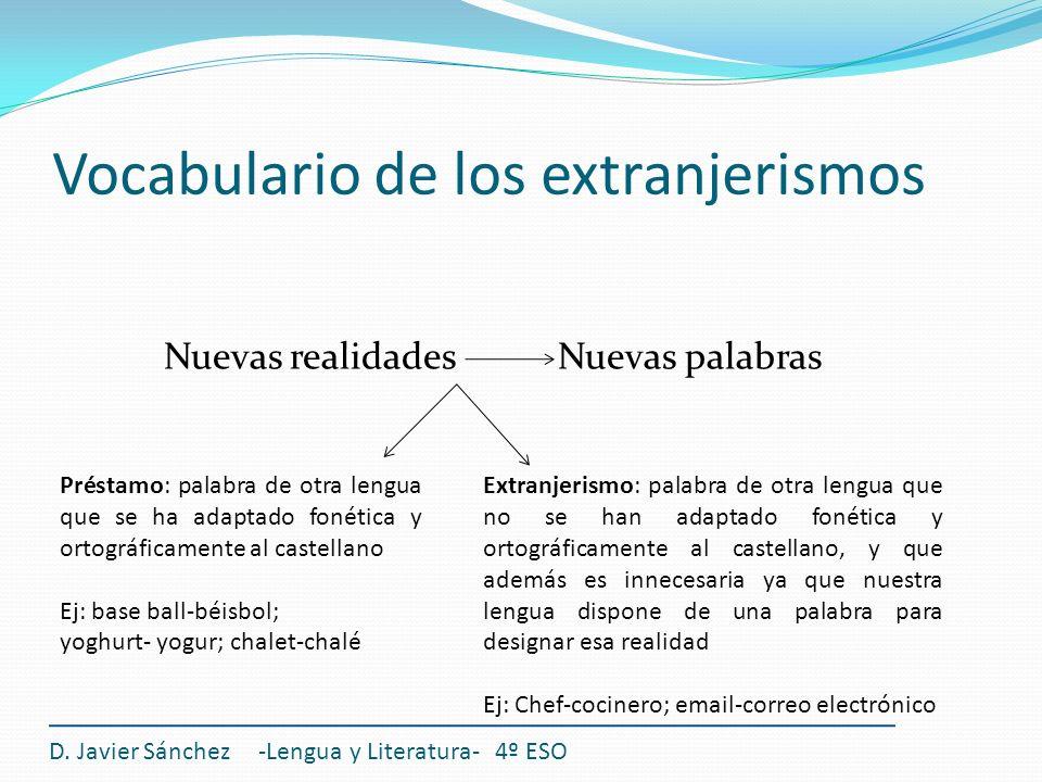 Vocabulario de los extranjerismos Nuevas realidades Nuevas palabras D. Javier Sánchez -Lengua y Literatura- 4º ESO Préstamo: palabra de otra lengua qu
