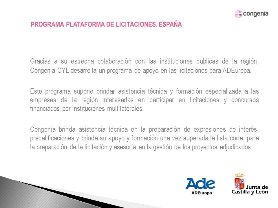 Gracias a su estrecha colaboración con las instituciones publicas de la región, Congenia CYL desarrolla un programa de apoyo en las licitaciones para ADEuropa.