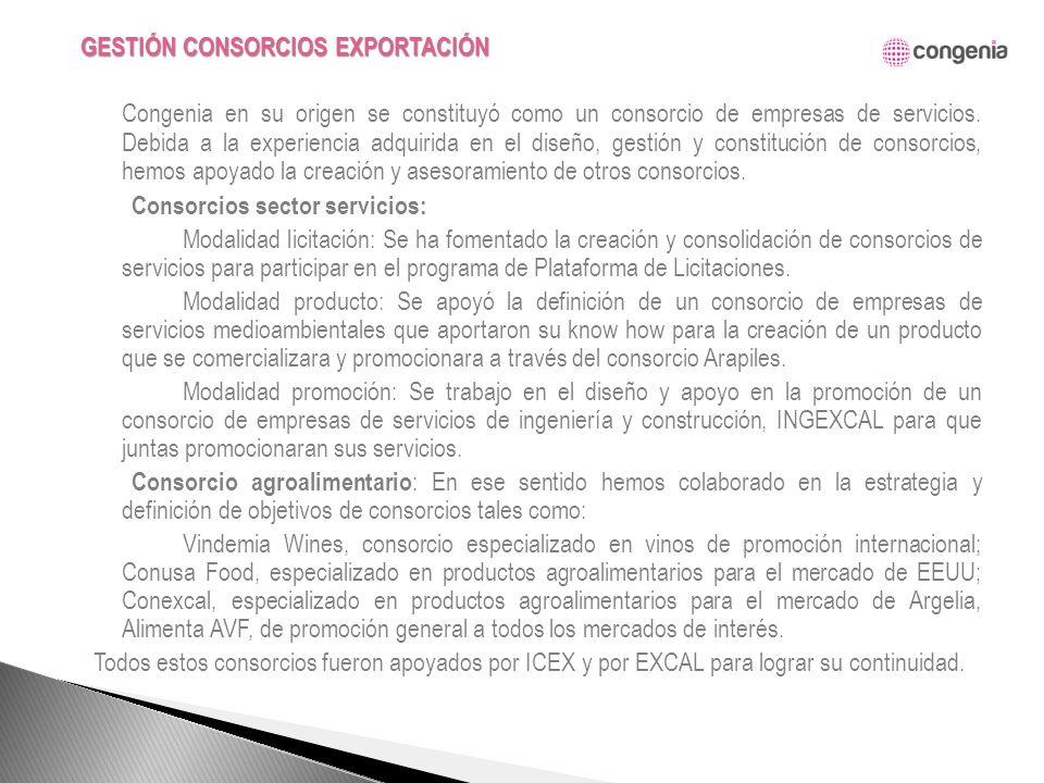 Congenia en su origen se constituyó como un consorcio de empresas de servicios.