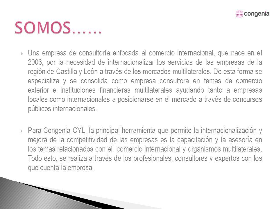 MISIÓN La misión de Congenia CYL consiste en brindar asistencia técnica personalizada y las herramientas adecuadas para que las empresas e instituciones logren la internacionalización de sus productos/servicios y mejoren su competitividad y posición internacional.