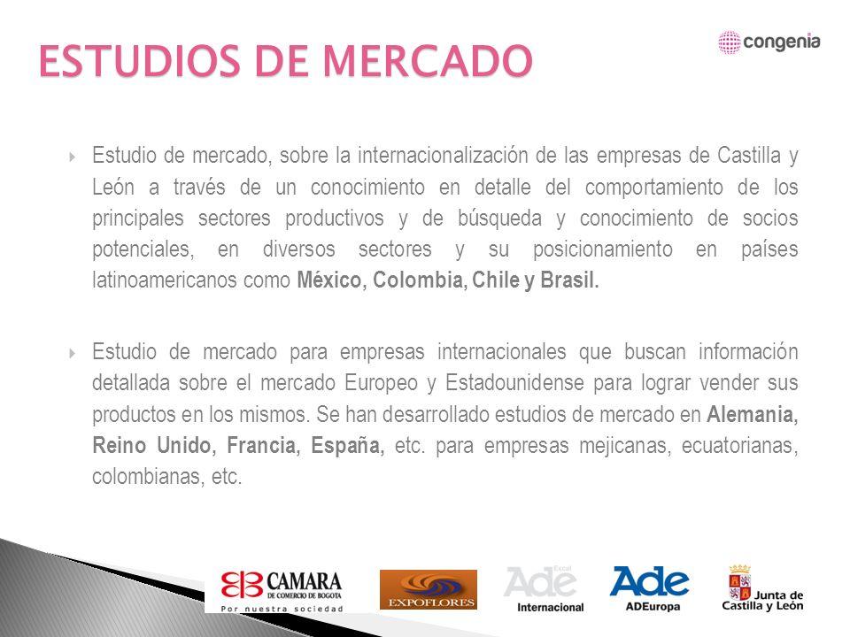 Estudio de mercado, sobre la internacionalización de las empresas de Castilla y León a través de un conocimiento en detalle del comportamiento de los principales sectores productivos y de búsqueda y conocimiento de socios potenciales, en diversos sectores y su posicionamiento en países latinoamericanos como México, Colombia, Chile y Brasil.