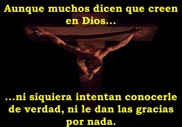 Aunque muchos dicen que creen en Dios......ni siquiera intentan conocerle de verdad, ni le dan las gracias por nada.