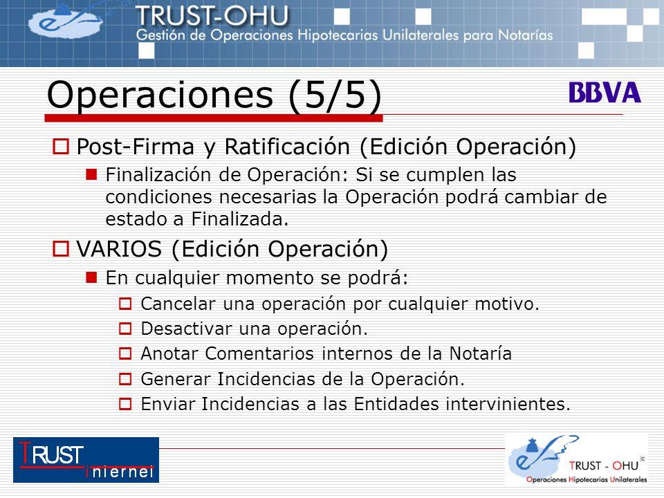 Operaciones (5/5) Post-Firma y Ratificación (Edición Operación) Finalización de Operación: Si se cumplen las condiciones necesarias la Operación podrá