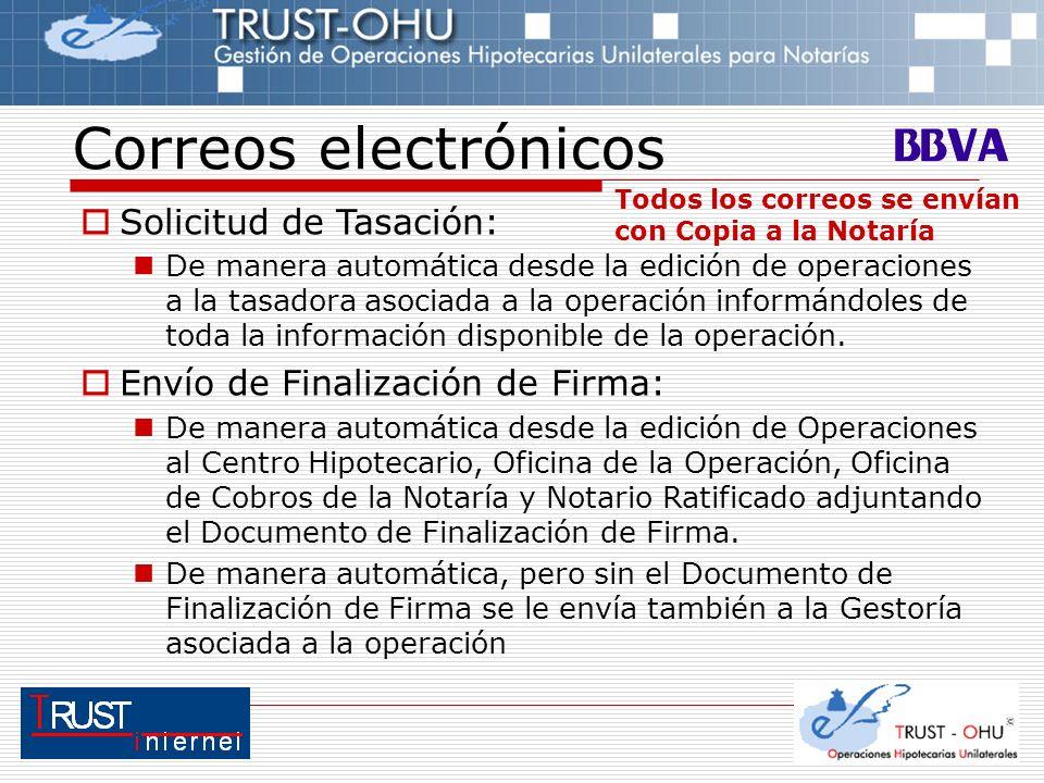 Correos electrónicos Solicitud de Tasación: De manera automática desde la edición de operaciones a la tasadora asociada a la operación informándoles d