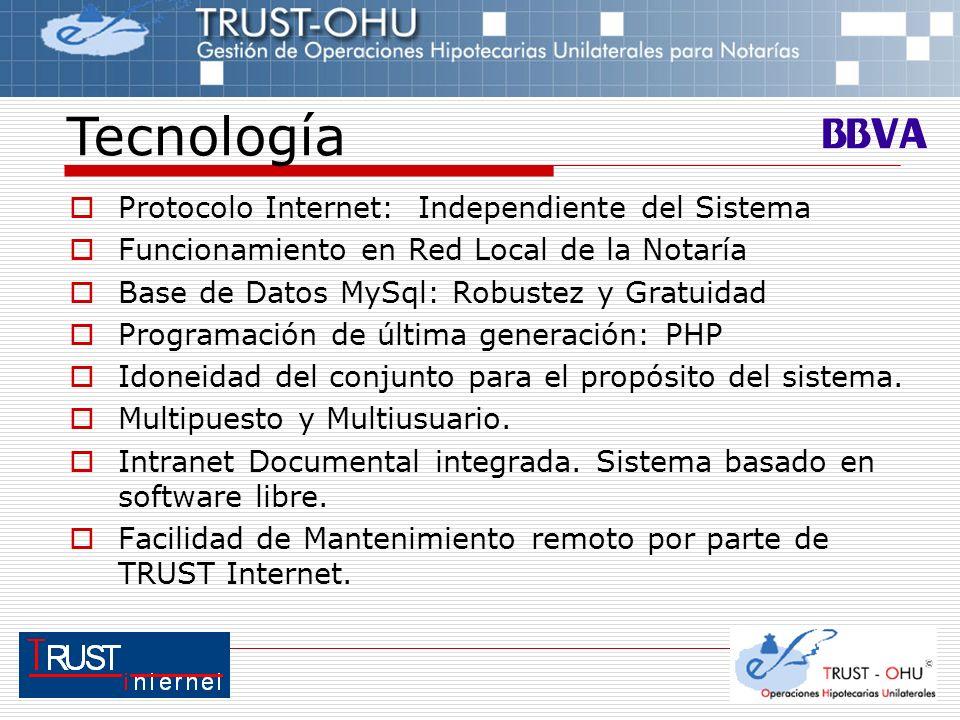 Protocolo Internet: Independiente del Sistema Funcionamiento en Red Local de la Notaría Base de Datos MySql: Robustez y Gratuidad Programación de últi