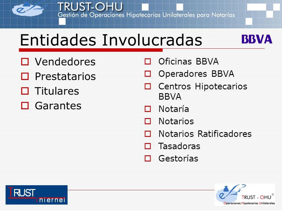 Vendedores Prestatarios Titulares Garantes Entidades Involucradas Oficinas BBVA Operadores BBVA Centros Hipotecarios BBVA Notaría Notarios Notarios Ra