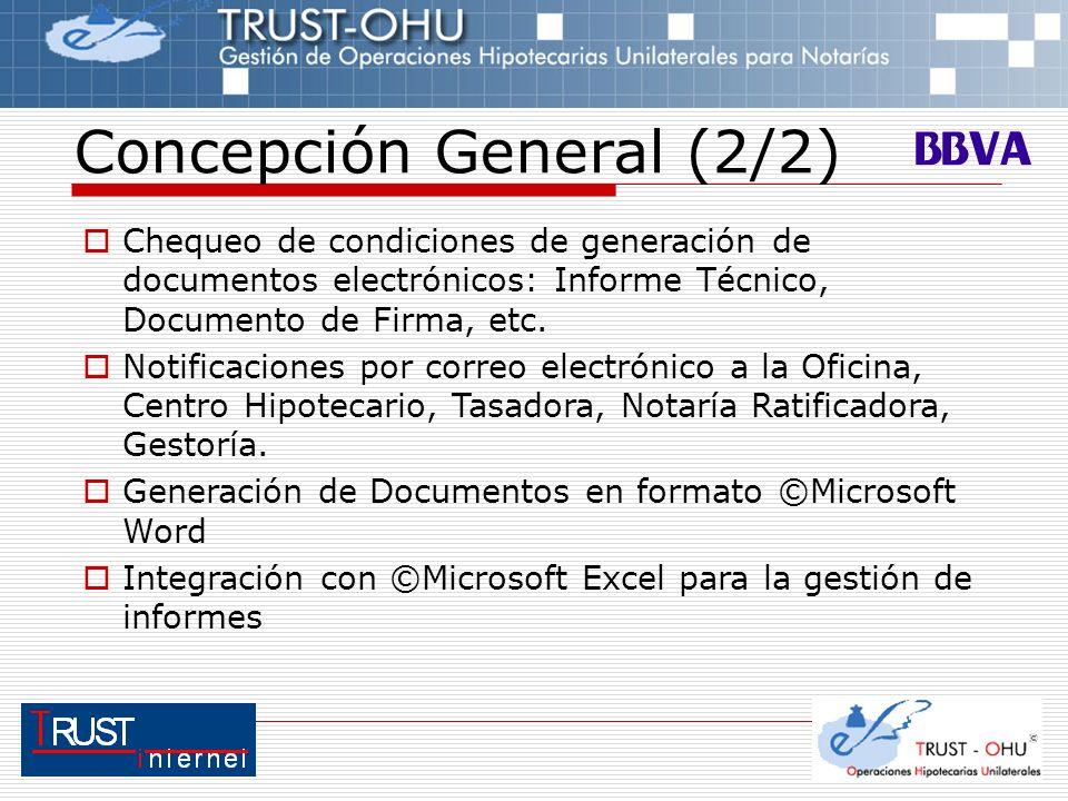 Concepción General (2/2) Chequeo de condiciones de generación de documentos electrónicos: Informe Técnico, Documento de Firma, etc. Notificaciones por
