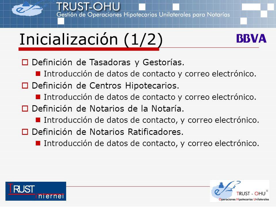Inicialización (1/2) Definición de Tasadoras y Gestorías. Introducción de datos de contacto y correo electrónico. Definición de Centros Hipotecarios.