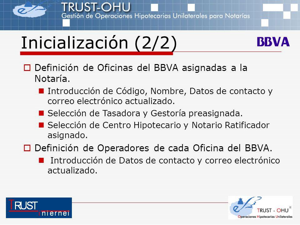 Inicialización (2/2) Definición de Oficinas del BBVA asignadas a la Notaría. Introducción de Código, Nombre, Datos de contacto y correo electrónico ac