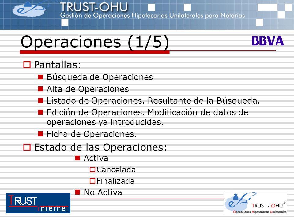 Operaciones (1/5) Pantallas: Búsqueda de Operaciones Alta de Operaciones Listado de Operaciones. Resultante de la Búsqueda. Edición de Operaciones. Mo