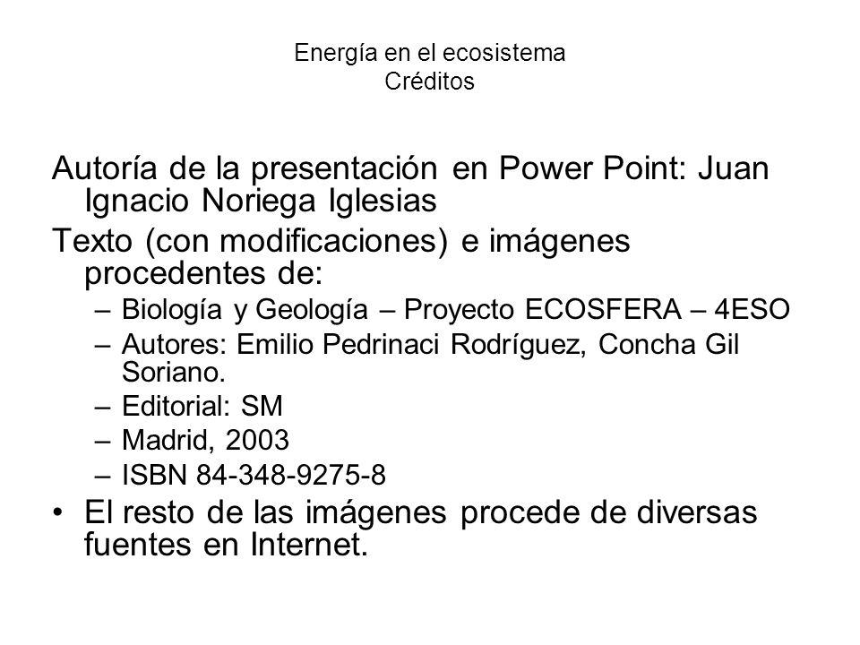 Energía en el ecosistema Créditos Autoría de la presentación en Power Point: Juan Ignacio Noriega Iglesias Texto (con modificaciones) e imágenes proce