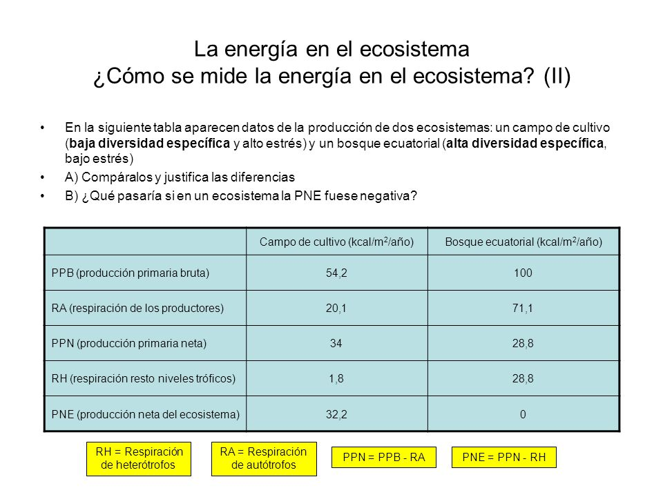 La energía en el ecosistema ¿Cómo se mide la energía en el ecosistema? (II) En la siguiente tabla aparecen datos de la producción de dos ecosistemas: