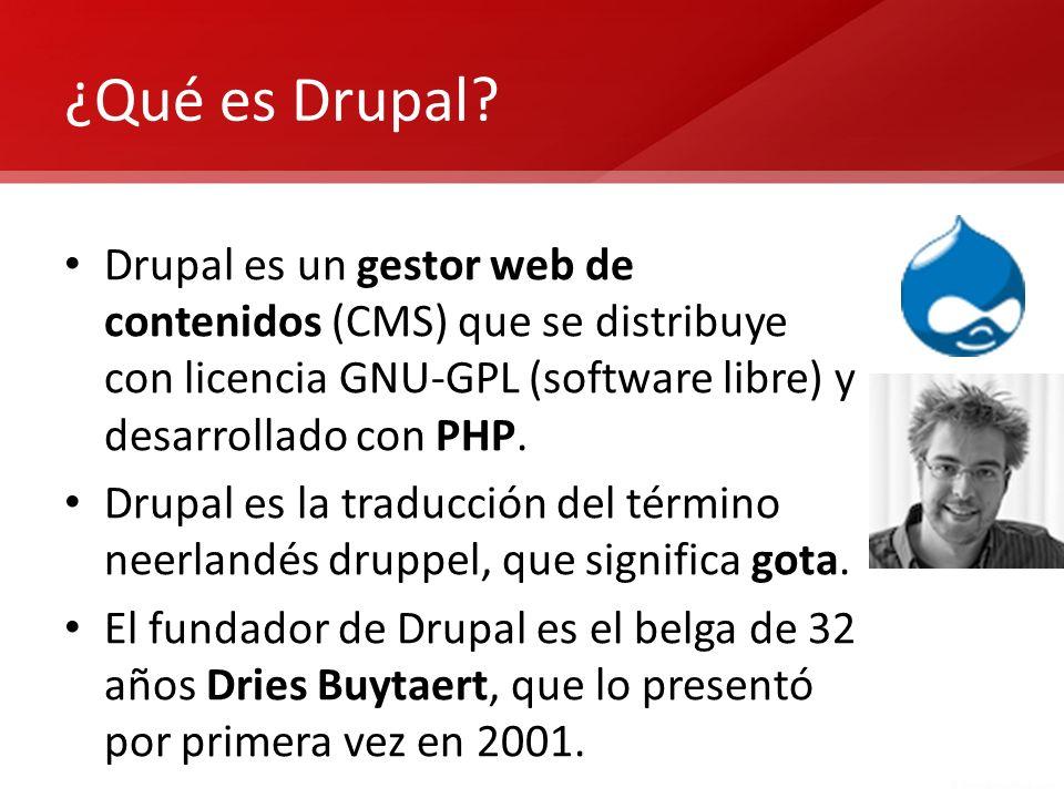 Características principales de Drupal Drupal en sí, lo que conocemos como Drupal Core, ofrece una funcionalidad muy reducida, pero es una base muy bien diseñada para que otros puedan ampliar esa funcionalidad a través de extensiones, que se conocen como Módulos contribuidos.