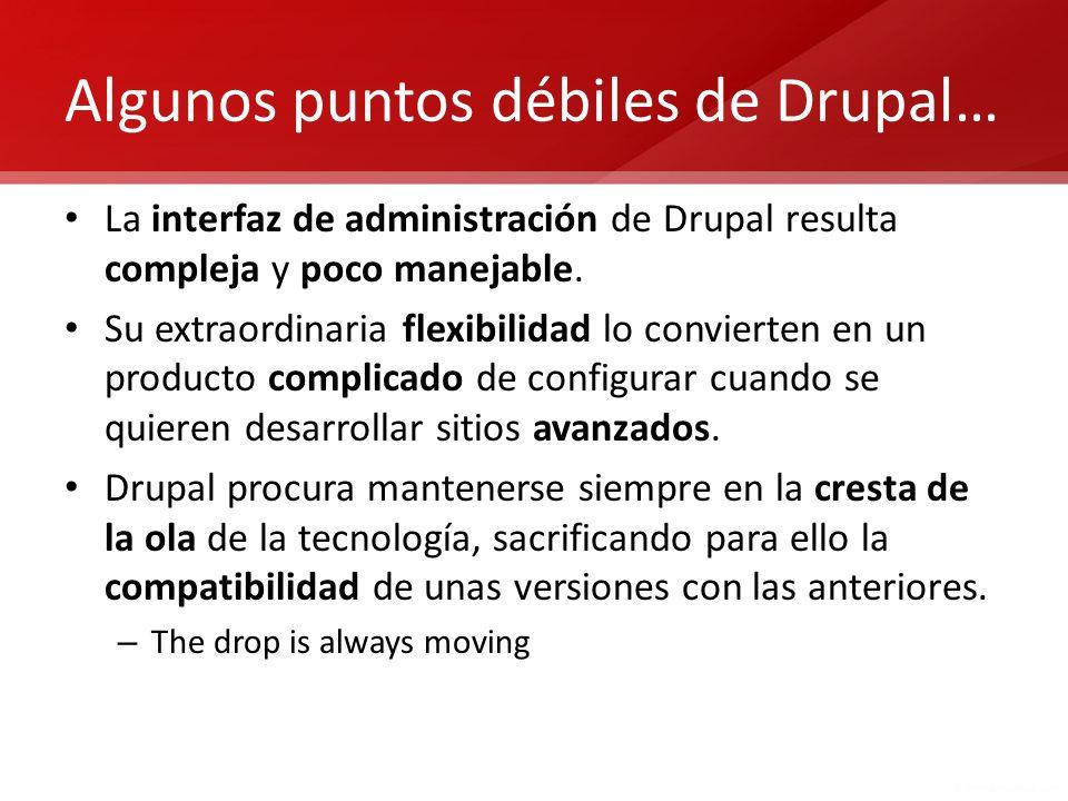 … y sus posibles excusas La versión 7 de Drupal ha mejorado notablemente la usabilidad de la interfaz de administración mediante el uso de overlays.