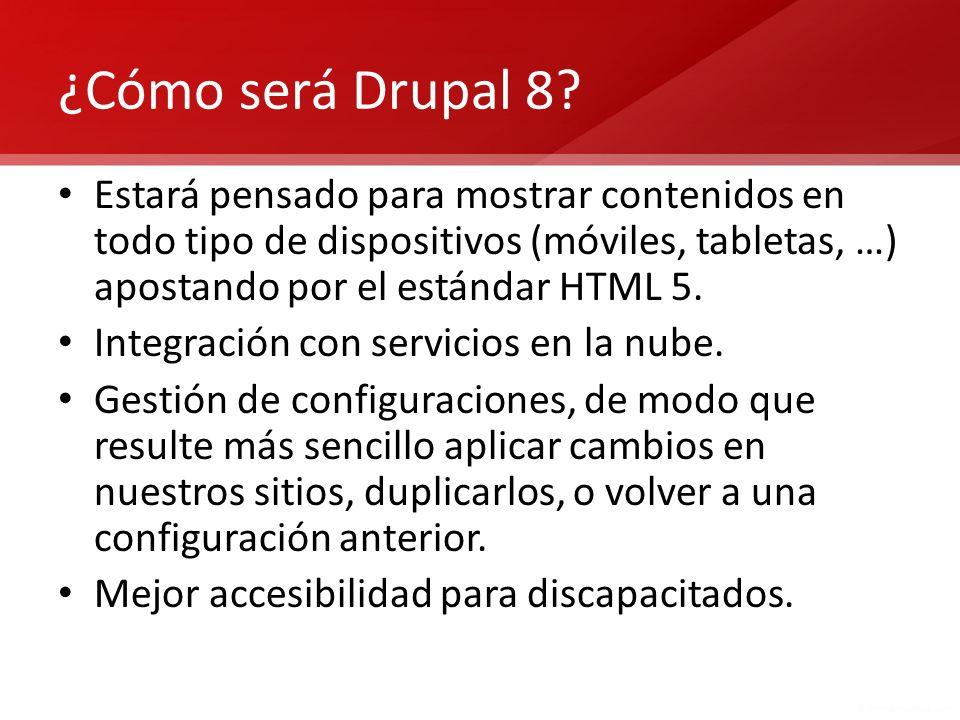 Actualización de Drupal Cada vez que se presenta una versión nueva de Drupal sólo incluye la actualización del núcleo y de los módulos del núcleo, pero no de los módulos contribuidos.