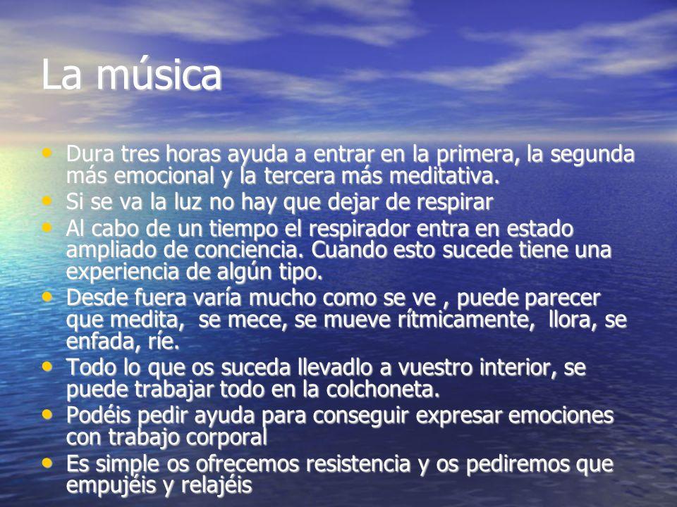 La música Dura tres horas ayuda a entrar en la primera, la segunda más emocional y la tercera más meditativa. Dura tres horas ayuda a entrar en la pri