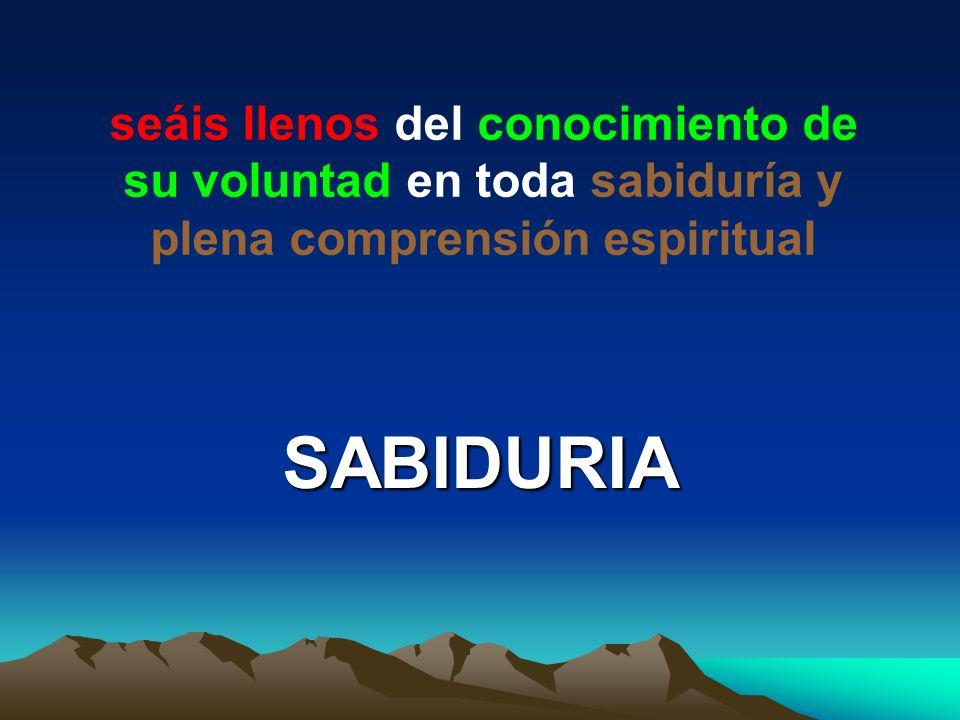 seáis llenos del conocimiento de su voluntad en toda sabiduría y plena comprensión espiritual SABIDURIA