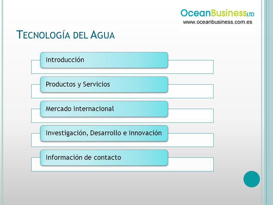 T ECNOLOGÍA DEL A GUA IntroducciónProductos y ServiciosMercado InternacionalInvestigación, Desarrollo e InnovaciónInformación de contacto