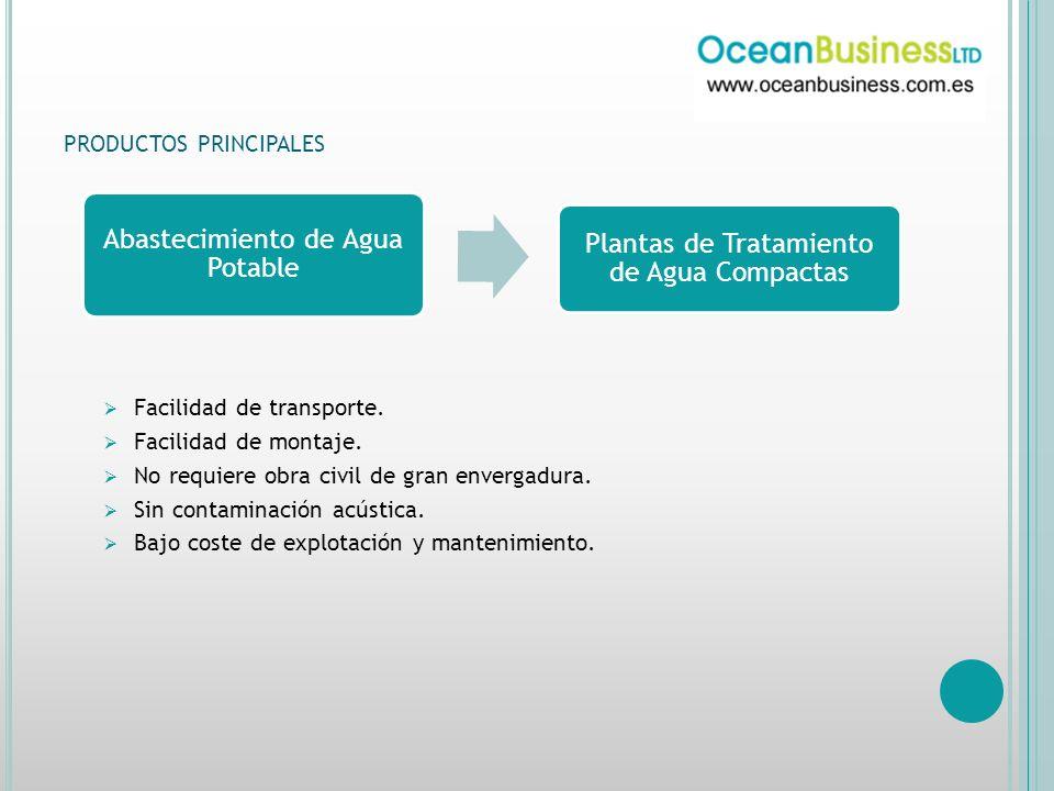 PRODUCTOS PRINCIPALES Abastecimiento de Agua Potable Plantas de Tratamiento de Agua Compactas Facilidad de transporte.