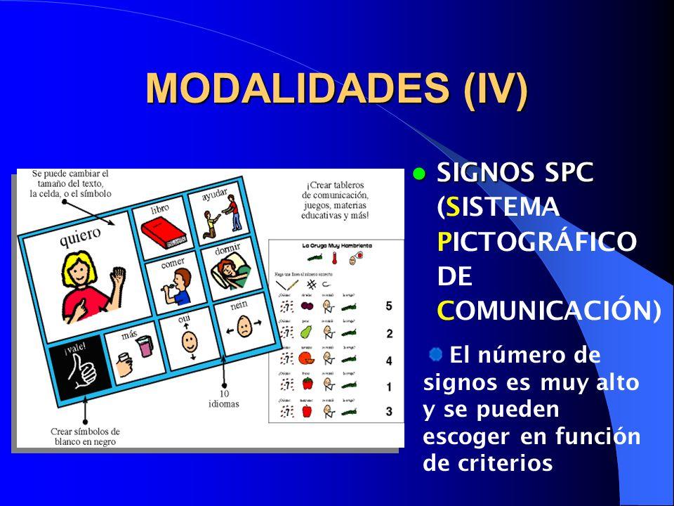 MODALIDADES (V) SISTEMA BIMODAL SISTEMA BIMODAL comprensión Es el menos adecuado como sistema expresivo debido a la gran dispraxia manual aunque puede ser muy válido para mejorar la comprensión