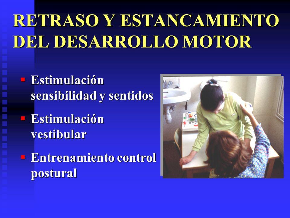 RETRASO Y ESTANCAMIENTO DEL DESARROLLO MOTOR Estimulación sensibilidad y sentidos Estimulación sensibilidad y sentidos Estimulación vestibular Estimul