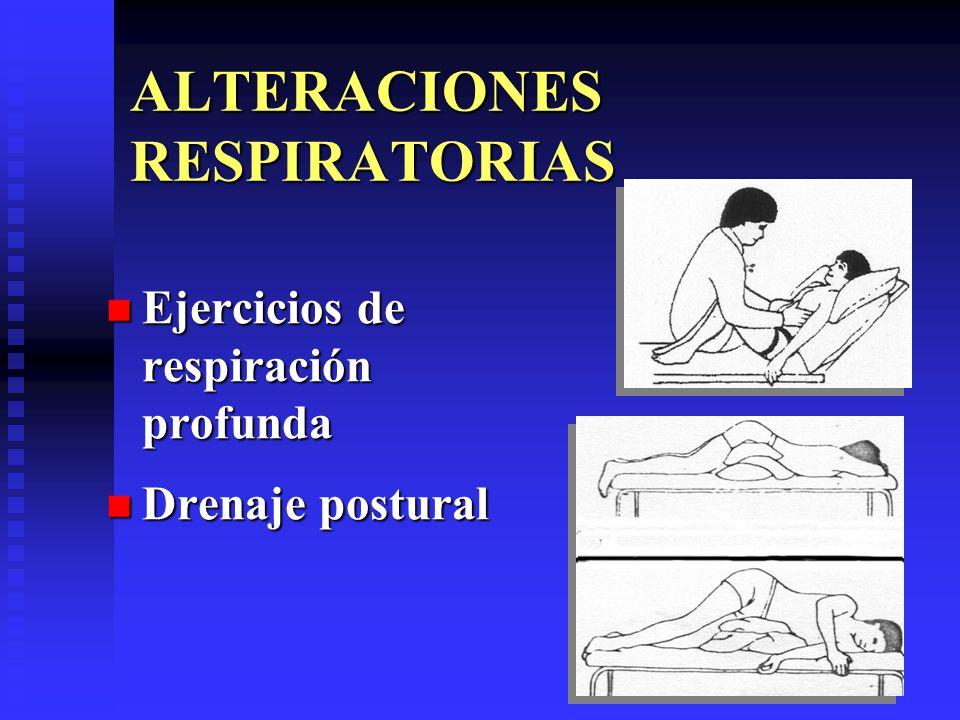 ALTERACIONES RESPIRATORIAS Ejercicios de respiración profunda Ejercicios de respiración profunda Drenaje postural Drenaje postural