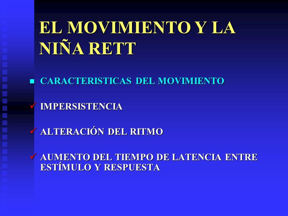 EL MOVIMIENTO Y LA NIÑA RETT CARACTERISTICAS DEL MOVIMIENTO CARACTERISTICAS DEL MOVIMIENTO IMPERSISTENCIA IMPERSISTENCIA ALTERACIÓN DEL RITMO ALTERACI