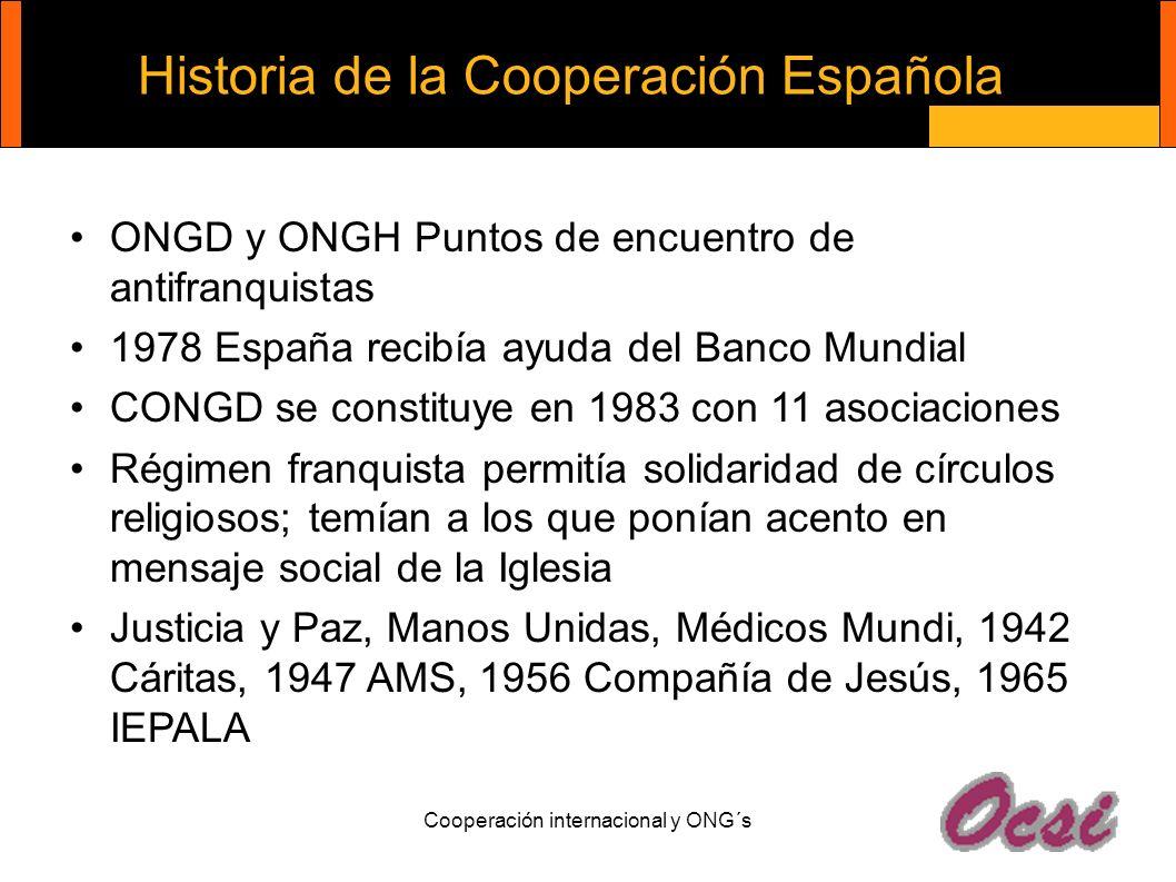Cooperación internacional y ONG´s Historia de la Cooperación Española ONGD y ONGH Puntos de encuentro de antifranquistas 1978 España recibía ayuda del