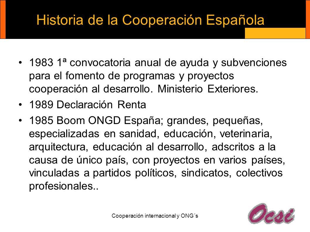 Cooperación internacional y ONG´s Historia de la Cooperación Española 1983 1ª convocatoria anual de ayuda y subvenciones para el fomento de programas