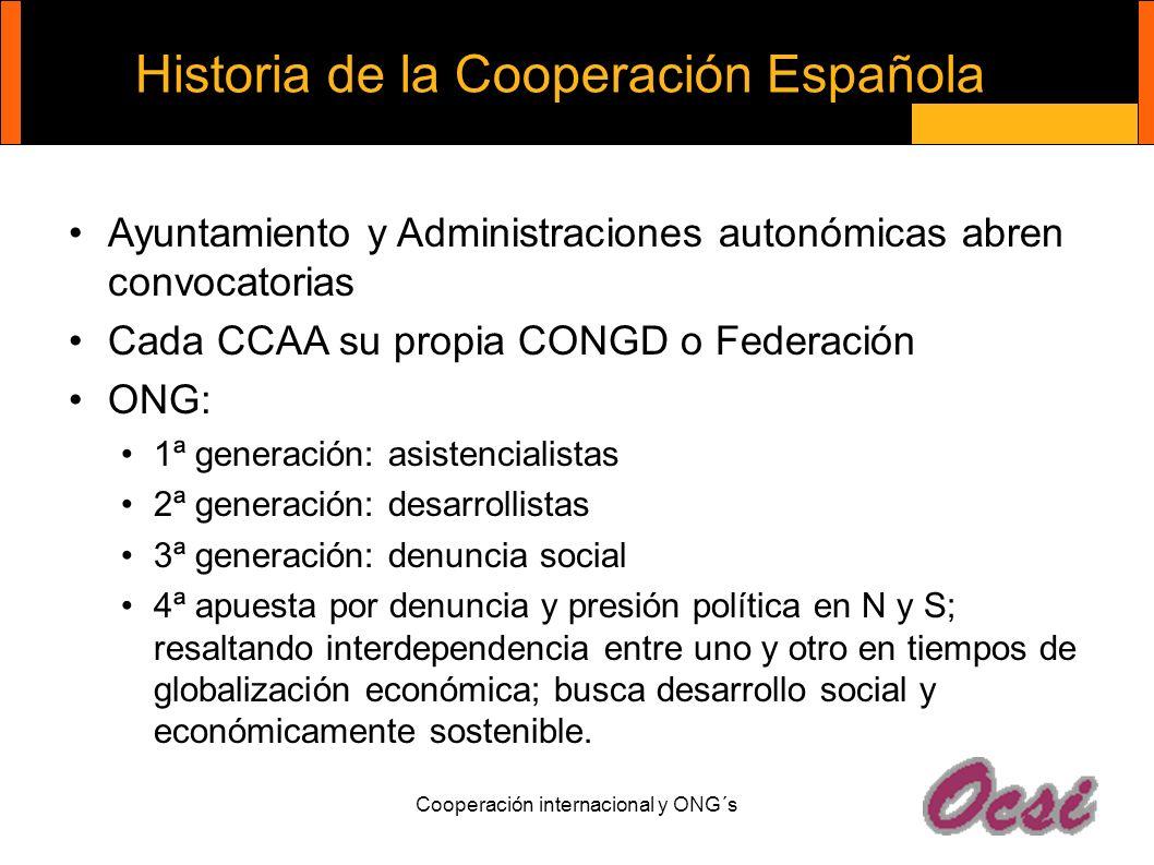 Cooperación internacional y ONG´s Historia de la Cooperación Española Ayuntamiento y Administraciones autonómicas abren convocatorias Cada CCAA su pro