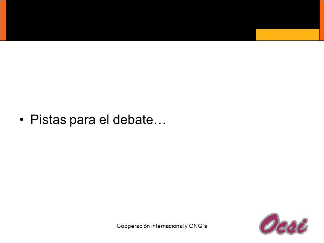 Cooperación internacional y ONG´s Pistas para el debate…