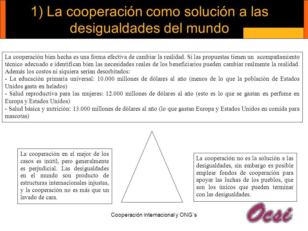 Cooperación internacional y ONG´s 1) La cooperación como solución a las desigualdades del mundo La cooperación en el mejor de los casos es inútil, per