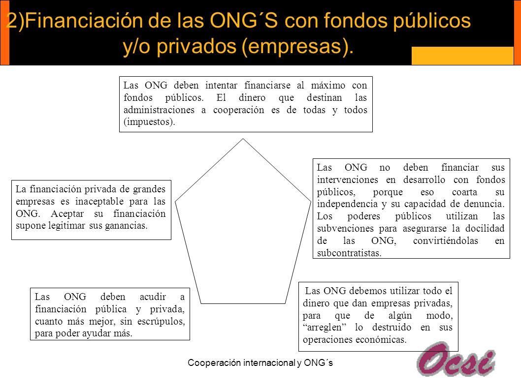 Cooperación internacional y ONG´s 2)Financiación de las ONG´S con fondos públicos y/o privados (empresas). Las ONG deben acudir a financiación pública