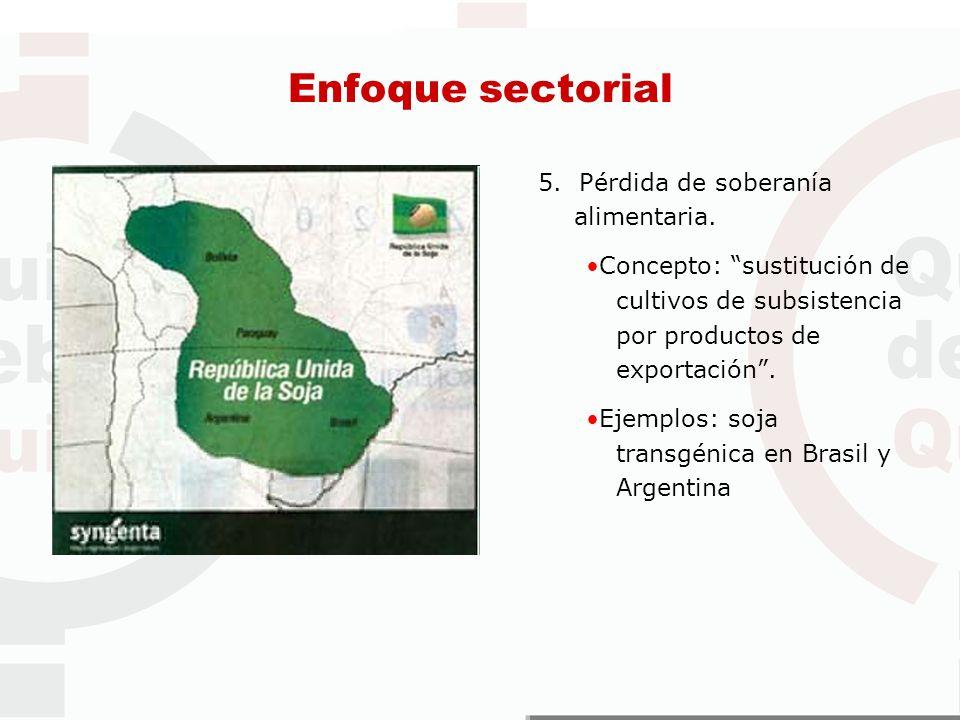5. Pérdida de soberanía alimentaria. Concepto: sustitución de cultivos de subsistencia por productos de exportación. Ejemplos: soja transgénica en Bra