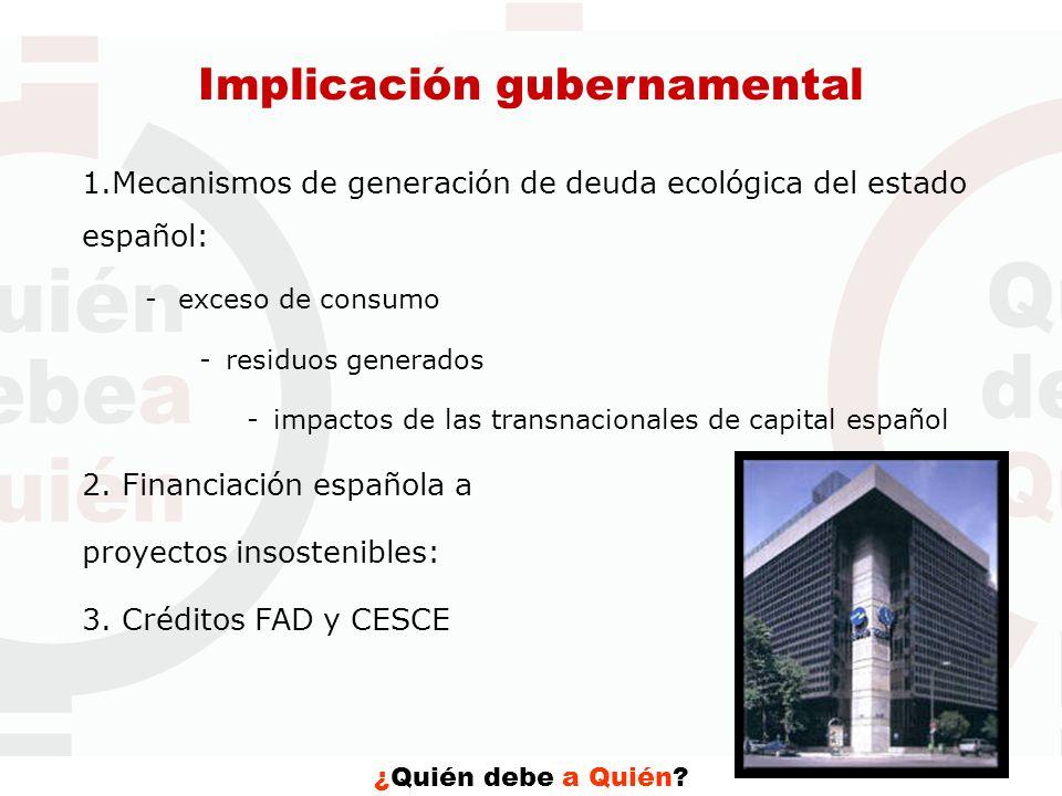 ¿Quién debe a Quién? Implicación gubernamental 1.Mecanismos de generación de deuda ecológica del estado español: -exceso de consumo -residuos generado