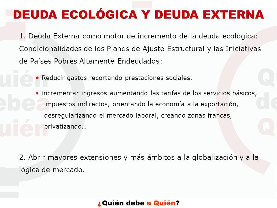 ¿Quién debe a Quién? DEUDA ECOLÓGICA Y DEUDA EXTERNA 1. Deuda Externa como motor de incremento de la deuda ecológica: Condicionalidades de los Planes