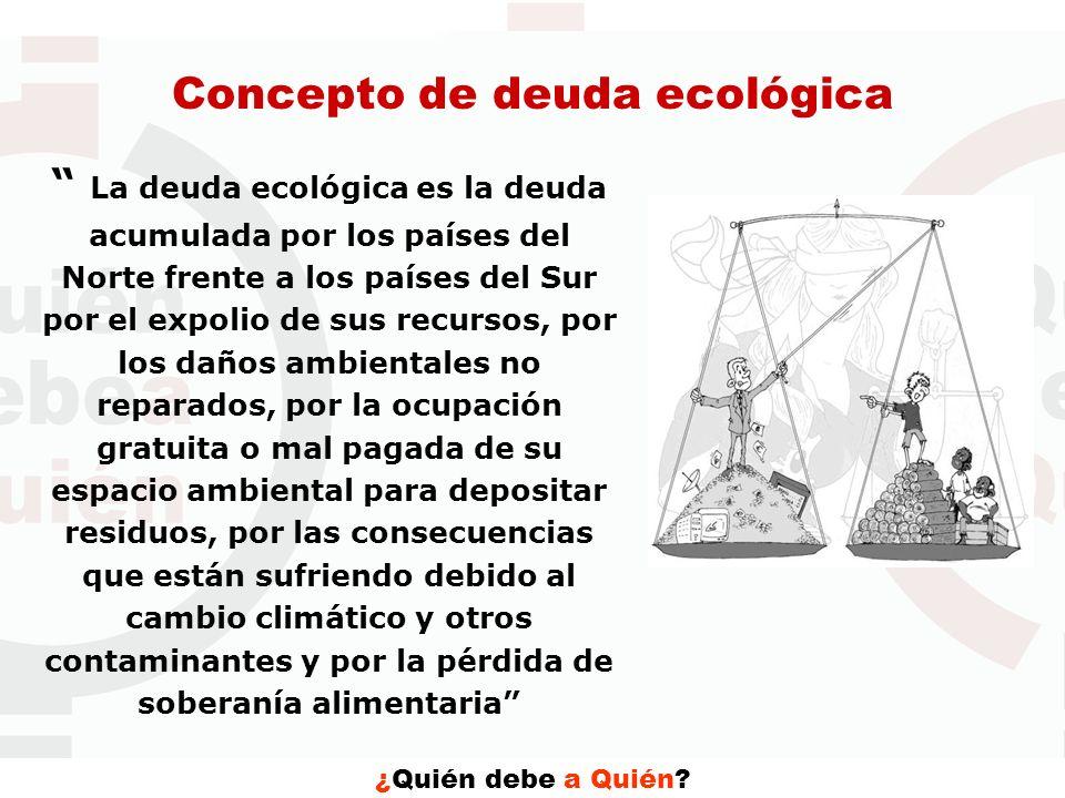 ¿Quién debe a Quién? Concepto de deuda ecológica La deuda ecológica es la deuda acumulada por los países del Norte frente a los países del Sur por el