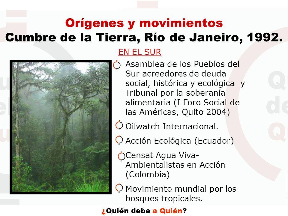 ¿Quién debe a Quién? Orígenes y movimientos Cumbre de la Tierra, Río de Janeiro, 1992. EN EL SUR Asamblea de los Pueblos del Sur acreedores de deuda s