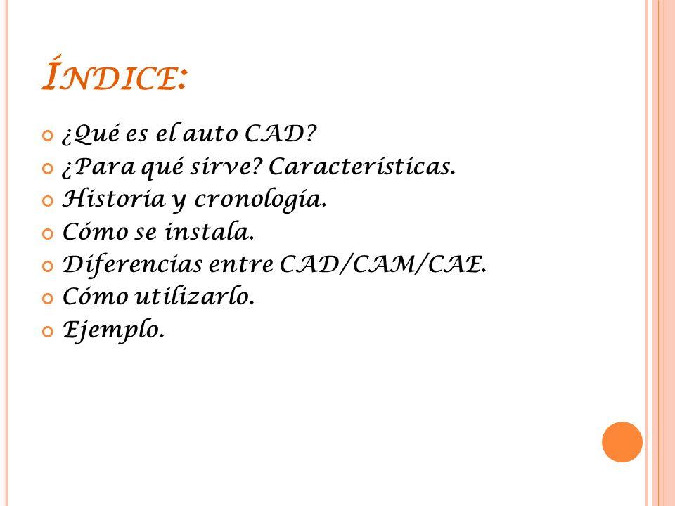 Í NDICE : ¿Qué es el auto CAD.¿Para qué sirve. Características.