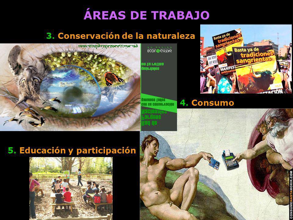 5. Educación y participación ÁREAS DE TRABAJO 4. Consumo 3. Conservación de la naturaleza