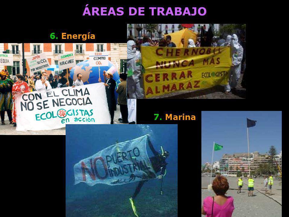 ÁREAS DE TRABAJO 6. Energía 7. Marina
