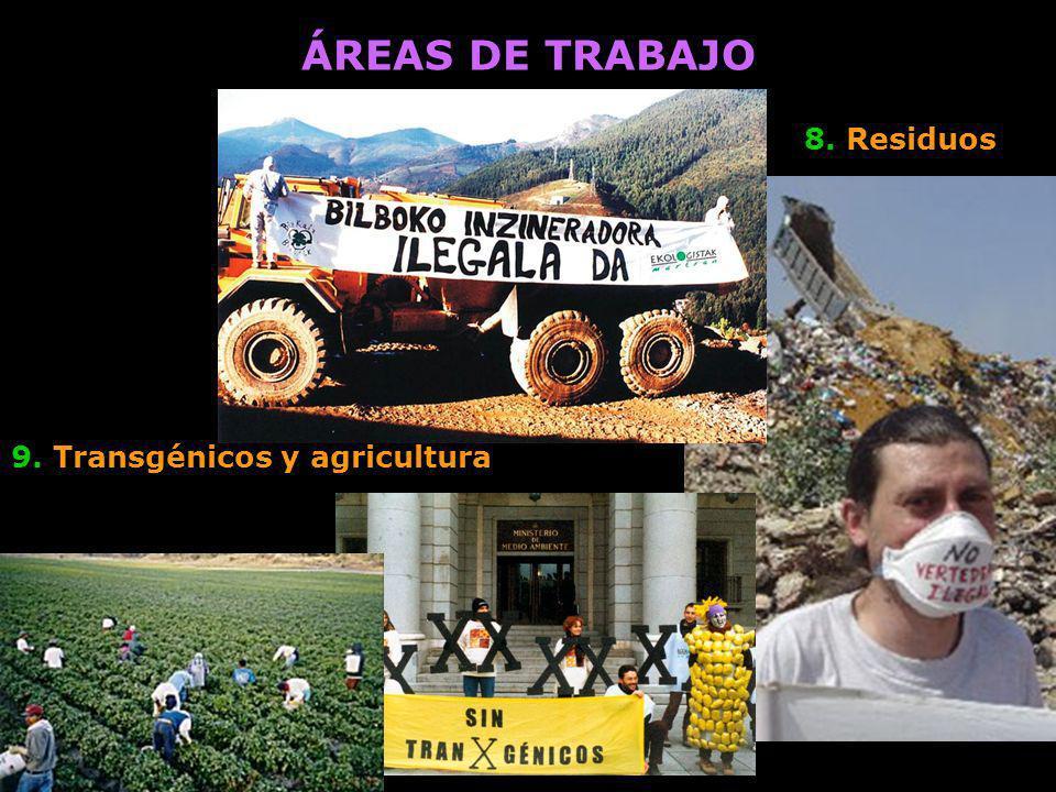 ÁREAS DE TRABAJO 8. Residuos 9. Transgénicos y agricultura
