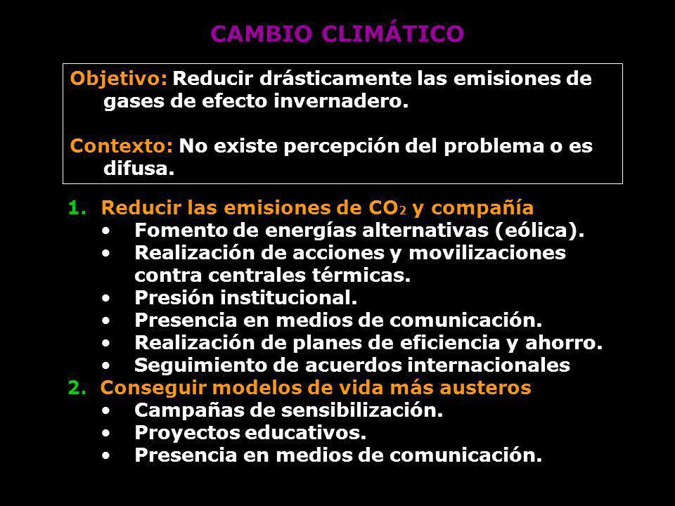 CAMBIO CLIMÁTICO 1.Reducir las emisiones de CO 2 y compañía Fomento de energías alternativas (eólica). Realización de acciones y movilizaciones contra